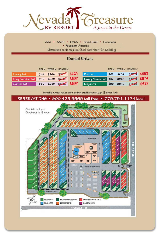 Nevada Treasure RV Resort Site Map and Prices.